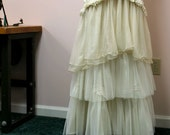 SALE Wedding Gown Mermaid Upcycled Vintage Lace Tiered Ruffles Size 10