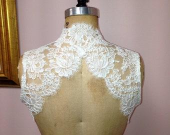 Sleeveless Keyhole Back Alencon Lace Bridal Bolero