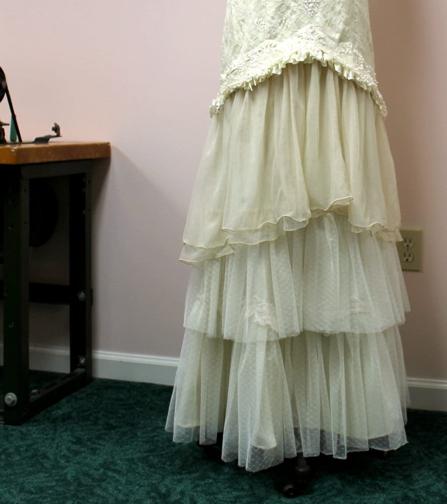 Sale wedding gown mermaid upcycled vintage lace tiered ruffles for Have wedding dress made