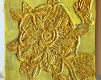 Glazed Floral Tile Earthenware Trivet Hot Plate Spoon Rest in Sunny Yellows