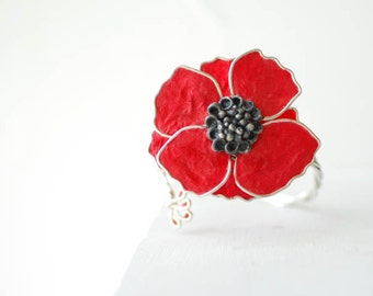 Red Poppy Jewelry, Paper Cuff Bracelet, Van Gogh Inspired, Retro Flower Jewelry