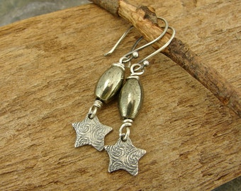 Starry Night - Pyrite and Artisan Sterling Silver Charm Earrings - Artisan Sterling Silver Earrings