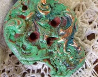 90. Nature Skull Flower Child Stoneware Pendant