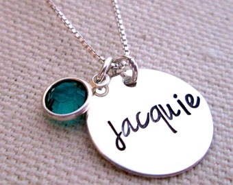 Personalized Jewelry - hand stamped jewelry - Mothers Necklace - Birthstone Necklace