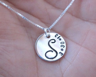 Initial Necklace - Bridesmaid Necklace - Monogram Necklace - Personalized Necklace - Mother's Jewelry - Handstamped Necklace
