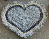 Something Blue Crocheted Heart Rug