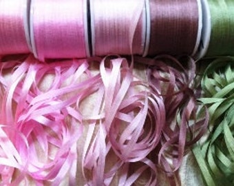 Edwardian Pink 4mm 25 yard Silk Ribbon combo pack