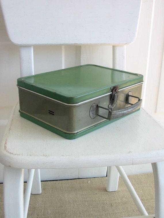 Vintage Lunch Box Metal Green Gray Industrial Children Storage