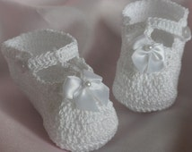 Crochet T-Strap Booties, Crochet Baby Booties, Newborn to Three Month Old Baby Booties, White Crochet Booties, Christening Booties, Booties