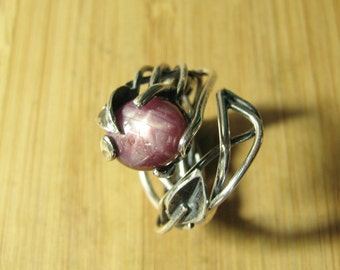 Star Ruby Brutalist Adjustable Vine Ring