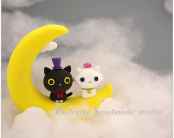 cat and kitty Wedding Cake Topper-love kitty,love cat with Moon----k850