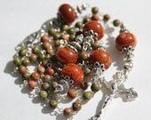 Handmade Catholic Rosary with Olive Green and Burnt Red Agate Beads, Handmade Catholic Rosaries, Handmade Beaded Rosary, One of a kind