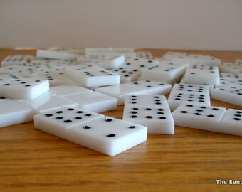 Handmade Dominoes of White Acrylic -- Double 9 in Leather Bag -- SALE -- Was 70.00