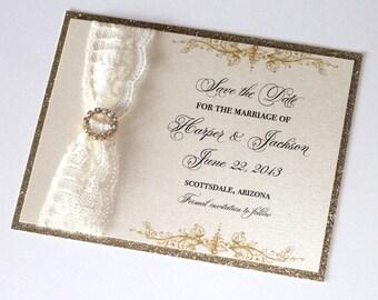 Glitter Wedding Save the Date - Vintage Wedding - Elegant Wedding - Glitter Invitation - Lace Invitation - Ivory Gold Glitter - HarperSample