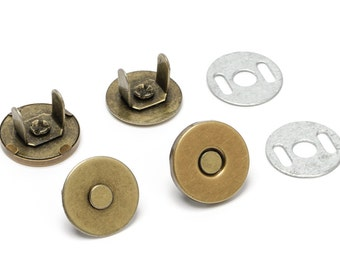 10pcs Thin Magnetic Purse Snaps 14mm - Antique Brass - (MAGNET SNAP MAG-170) - Free Shipping