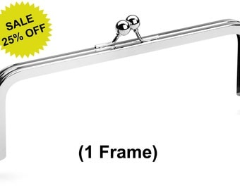 """1pc - 8"""" x 3"""" Nickel Purse Frame with Standard Ball Clasp - Free Shipping (PURSE FRAME FRM-104)"""