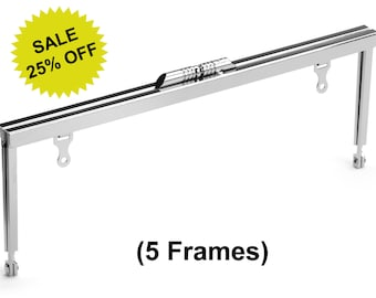 """5pcs - 8"""" x 3"""" Nickel Purse Frame with Modern Style Clasp and Chain Loops - Free Shipping (PURSE FRAME FRM-120)"""