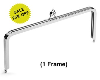 "1pc - 10"" x 4"" Nickel Purse Frame with Teardrop Clasp - Free Shipping (PURSE FRAME FRM-132)"