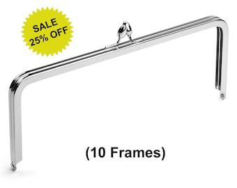 """10pcs - 10"""" x 4"""" Nickel Purse Frame with Teardrop Clasp - Free Shipping (PURSE FRAME FRM-132)"""