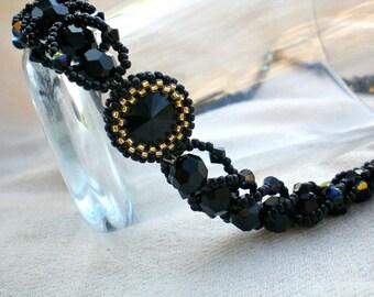 Swarovski Rivoli Crystals Black  Statement Necklace Unique Jewelry Beaded Beadwoven Beadweaving Beadwork