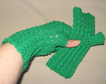 Bright Emerald Fingerless Cotton Texting Gloves Hand Knit