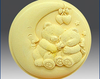 2D Silicone Soap/Polymer Clay/Cold Porcelain Clay/Plaster Mold - Nighty Night Teddy Bears - free shipping