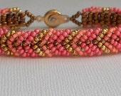 coral beadwork bracelet SALE
