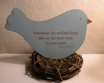Pooh quote - Sometimes the smallest things - nursery decor or baby shower decoration - bird in nest