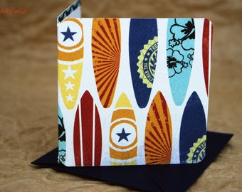 Blank Mini Card Set of 10, Cool Surfboard Design with Contrasting Wave Pattern on the Inside, Navy Envelopes, mad4plaid