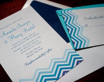 "Chevron Wedding Invitation Sample - ""Ithaca"""
