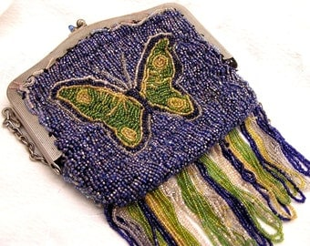 Antique Vintage 1920s Beaded Butterfly Purse Beautiful  and Fringed
