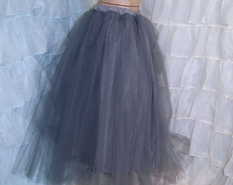 Formal Silver Gray Floor Length Tulle Skirt Adult All Sizes MTcoffinz