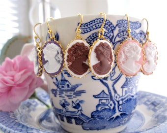 Cameo Earrings Royal Plum