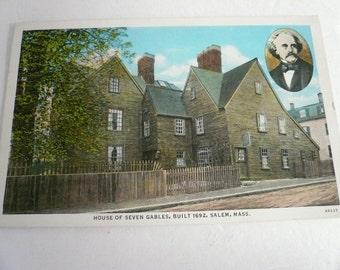 Antique Postcard    House of Seven Gables Built 1692 Salem Massachusetts