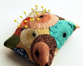 Eco Friendly Handmade Pincushion - Peach Parasols - Kezbirdie