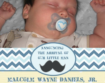 Photo Birth Announcement - Mustache Baby