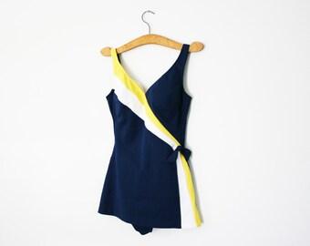 vintage 60s Girl at Sea Nautical Side Tie Navy Blue Ladies Bathing Suit