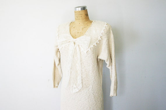 vintage 80s Oatmeal Oversized Lace Collar and Ascot Ladies Sweater Dress