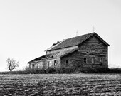 Farmhouse in the Spring, Black & White Photography, Barn, Rustic Buildings, Tree, Fine Art Signed Print