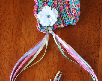 Newborn Spring Bonnet... Flower Hair clip... Photography Prop... Ready to Ship