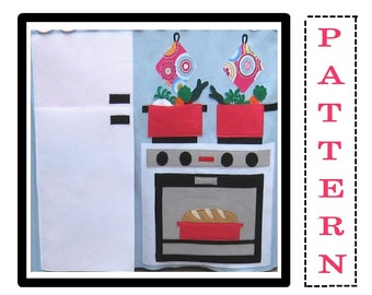 Play Kitchen Playhouse Wall or WALL HANGING, Pattern PDF, Instant Download After Purchase