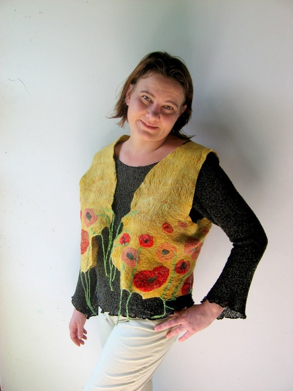 Felted  Vest - Poppy Field  (mixed merino wool and mulberry silk)