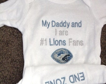 Personalized Detroit Lions Football Baby Infant Newborn Creeper Onesie