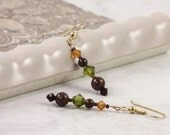 Gemstone Earrings Topaz Garnet Crystal Tiger Iron Jewel Tones Gold Ear Wires Mothers Day Jewelry