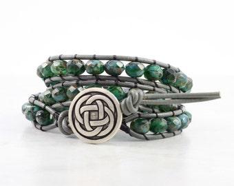 Celtic Green Leather Wrap Bracelet Gray Leather Irish Fashion Boho Style Triple Wrap Celtic Knot Blue Black St Patricks Day Emerald Green