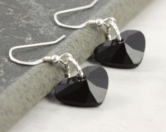 Valentine Black Heart Earrings Midnight Jet Crystal Sterling Silver Dangle Simple Dainty Minimalist Black Valentine Jewelry