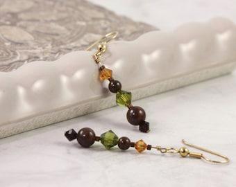 Tiger Iron Earrings Brown Earrings Fall Fashion Jewelry Green Garnet Red Jewelry Bronze Woodland Earrings Rustic Forest Green Earth Tones