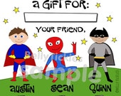 "Super Hero Siblings--gift stickers fill-in & check boxes-- 2"" or 2.5"" or 3.3"" squares-- GLOSSY stickers"