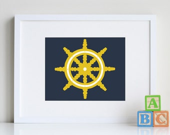 Nautical Nursery Decor 8 x 10 vintage ship wheel - different colors and sizes available