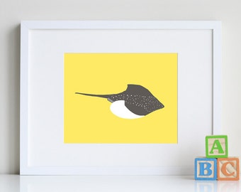 Stingray Ocean Animal Silhouette, nautical room decor 8 x 10 Art Print - available in different sizes and colors